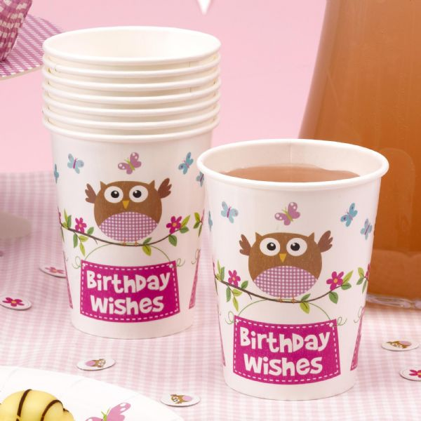 Little Owls Pink Cups (8)